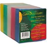 Compucessory Extra Thin CD/DVD Jewel Case - Jewel Case - Slide Insert - Plastic - Assorted CCS55306