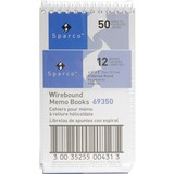 "Sparco Wirebound Memo Book - 50 Sheets - Printed - Wire Bound - 3"" x 5"" - White Paper - Chipboard Co SPR69350"