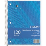 Sparco 3-Subject Quality Wirebound Notebook - 120 Sheets - Printed - Wire Bound - 16 lb Basis Weight SPR83254