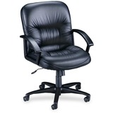 Lorell Leather Tufted Mid-Back Chair - Leather Black Seat - Black Frame - 5-star Base - Black LLR60115