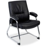 Lorell Bridgemill Leather Guest Chair - Leather Black Seat - Aluminum Frame - Black - Leather LLR60504