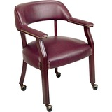 Lorell Traditional Captain Side Chair With Casters - Vinyl Burgundy Seat - Hardwood Frame - Oxblood  LLR60601