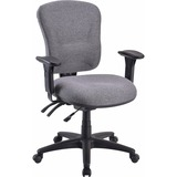 Lorell Accord Mid-Back Task Chair - Polyester Gray Seat - Black Frame LLR66125