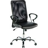 Lorell 86000 Series Executive Mesh Swivel Chair - Leather Black Seat - Mesh Back - 5-star Base - 24. LLR86203