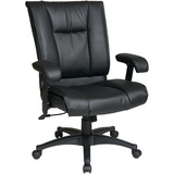Office Star EX9381 Deluxe Leather Mid-Back Chair - Leather Black Seat - Black Frame - 5-star Base -  OSPEX93813
