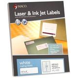 "MACO White Laser/Ink Jet Address Label - Permanent Adhesive - 1.33"" Width x 4"" Length - 14 / Sheet - MACML1400"