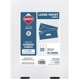 "MACO White Laser/Ink Jet Address Label - Permanent Adhesive - 1"" Width x 2.62"" Length - 30 / Sheet - MACML3000B"