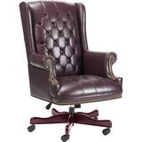 Lorell Traditional Executive Swivel Chair - Vinyl Oxblood Seat - Hardwood Mahogany Frame - 5-star Ba LLR60603