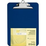 "Nature Saver Recycled Clipboard - 1"" Clip Capacity - 8.50"" x 12"" - Heavy Duty - Plastic - Blue NAT01542"