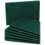 "SKILCRAFT Scouring Pad - 0.3"" Height x 6"" Width x 9.5"" Depth - 10/Pack - Nylon - Green NSN7535242"