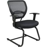 "Office Star Star Matrex Mesh Back Guest Chair - Black Seat - Sled Base - Black - 20.50"" Seat Width x OSP5505"
