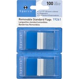 "Sparco Removable Flag - 100 x Blue - 1.75"" x 1"" - Rectangle - Blue - See-through, Self-adhesive, Rem SPR19261"