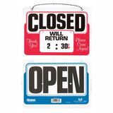 Headline® Sign Double-Sided Open/Closed Sign w/Dial-A-Time Will Return Clock, Plastic, 11 x 8 USS9385