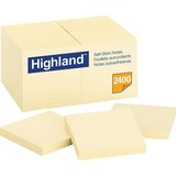 """Highland Highland Notes, 3 in x 3 in, Yellow - 2400 - 3"""" x 3"""" - Square - 100 Sheets per Pad - Unrule MMM654924PK"""