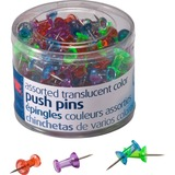 "OIC Translucent Push Pins - 0.5"" Length x 0.3"" Diameter - 200 Pack - Assorted - Steel OIC35710"