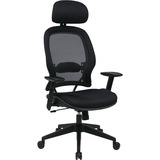 Office Star Professional Air Grid Chair with Adjustable Headrest - Mesh Seat - 5-star Base - Black - OSP55403