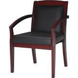 "Mayline Mercado Veneer Guest Chair - Leather Black, Wood Seat - Hardwood Cherry Frame - 22.5"" Width  MLNVSCABCRY"