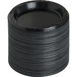 """Genuine Joe Round Plate - 6"""" Diameter Plate - Plastic - Black - 125 Piece(s) / Pack GJO10427"""