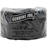 GJO10429 - Genuine Joe Round Plastic Black Plates