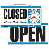 U.S. Stamp & Sign Open/Closed Sign - 1 Each - Open, CLOSED, Please Call Again, Will Return Print/Mes USS9395