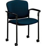HON 4070 Series Mobile Guest Chair - Acrylic Mariner, Polyester Seat - Steel Black Frame - Mariner - HON4075NT90T