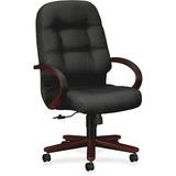 HON Pilow-Soft 2191 High Back Executive Chair - Foam Charcoal Seat - Mahogany Frame - 5-star Base -  HON2191NNT19