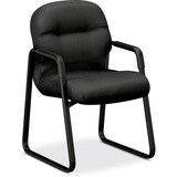 HON Pillow-Soft 2090 Series 2093 Guest chair - Foam Charcoal Seat - Charcoal Back - Black Frame - Sl HON2093NT19T