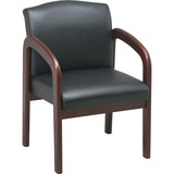 """Lorell Deluxe Faux Guest Chair - Leather Black Seat - Wood Cherry Frame - Black Cherry - 23"""" Width x LLR60470"""