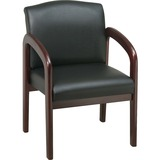 """Lorell Deluxe Guest Chair - Faux Leather Black Seat - Wood Mahogany Frame - Black Mahogany - 23"""" Wid LLR60471"""