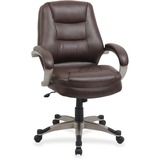 Lorell Westlake Series Mid Back Management Chair - Leather Saddle Seat - Polyurethane Frame - Saddle LLR63281