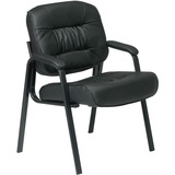 """Office Star Visitors Chair - Leather Black Seat - Four-legged Base - 20.50"""" Seat Width x 19"""" Seat De OSPEX81243"""