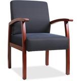 "Lorell Deluxe Guest Chair - Cherry Frame - Midnight Blue - 24"" Width x 25"" Depth x 35.5"" Height LLR68553"