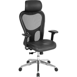 "Lorell High Back Executive Chair - Leather Black Seat - Aluminum Frame - 5-star Base - 24.9"" Width x LLR85035"