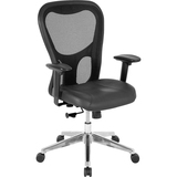"Lorell Mid Back Executive Chair - Leather Black Seat - Aluminum Frame - 5-star Base - 24.9"" Width x  LLR85036"
