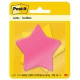 "Post-it Super Sticky Notes in Star Die Cut Shape - 150 - 3"" x 3"" - Star - 75 Sheets per Pad - Unrule MMM7350SSSTR"