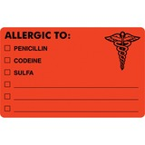 TAB00488 - Tabbies ALLERGIC TO Medical Allergy Label