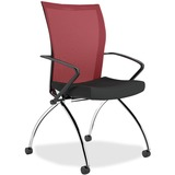 """Mayline Valore TSH1 High Back Chair with Arms - Fabric Red Seat - Chrome Black Frame - 19"""" Seat Widt MLNTSH1BR"""