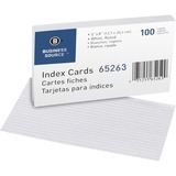 BSN65263 - Business Source Ruled White Index Cards