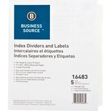 Business Source Punched Laser Tab Divider - 5 x Divider(s) - 5 Tab(s)/Set - 3 Hole Punched - White - BSN16483