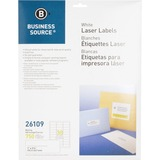 "Business Source Mailing Laser Label - Permanent Adhesive - 1"" Width x 2.63"" Length - Rectangle - Las BSN26109"