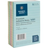 "Business Source Ruled Adhesive Note - 4"" x 6"" - Square - Ruled - Pastel - Self-adhesive, Solvent-fre BSN16501"