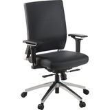 "Lorell Lower Back Swivel Executive Chair - Leather Black Seat - 5-star Base - Black - 28.5"" Width x  LLR90040"