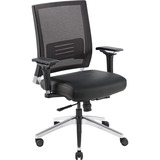 "Lorell Lower Back Swivel Executive Chair - Leather Black Seat - 5-star Base - Black - 28.5"" Width x  LLR90041"