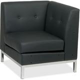"Ave Six Wall Street Corner Chair - Faux Leather Black Seat - Four-legged Base - 30.5"" Width x 28"" De OSPWST51CB18"