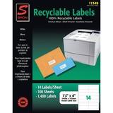 "Simon Recyclable Address Label - 1.33"" Width x 4"" Length - 14 / Sheet - Rectangle - Laser, Inkjet -  SJPSL11349"