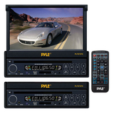 "Pyle PLTS73FX Car DVD Player - 7"" Touchscreen LCD - 16:9 - 320 W RMS - Single DIN - DVD Video, MP4 - FM, AM - Secure Digital (SD), MultiMediaCard (MMC) - Auxiliary Input1440 x 234 - iPod/iPhone Compatible - In-dash"