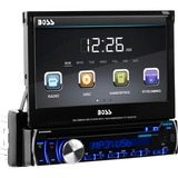 "Boss BV9986BI Car DVD Player - 7"" Touchscreen LCD - 340 W RMS - Single DIN - DVD Video, MP4, SVCD, Video CD, SDVD - AM, FM - Secure Digital (SD) - Bluetooth - Auxiliary Input1440 x 234 - iPod/iPhone Compatible - In-dash"