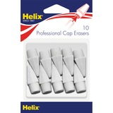 Helix Professional Hi-polymer Pencil Cap Erasers - Latex-free, PVC-free - 10/Pack - White HLX37360