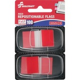 """SKILCRAFT Colorful Self-stick Flag - 1"""" x 1.75"""" - Rectangle - Red - Repositionable, Self-adhesive, R NSN3152019"""