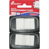 SKILCRAFT Colorful Self-stick Flag - White - Repositionable, Self-adhesive, Removable - 100 / Pack NSN3152022